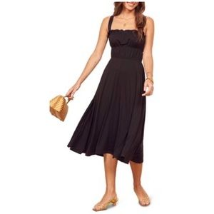 Reformation | Miranda Black Midi Sundress NWT